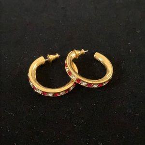 Monet Gold Hoop Earrings Red & White Rhinestones